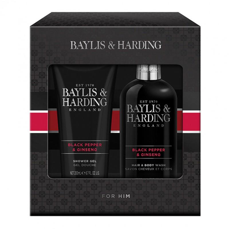 Набор мужской Men's Black Pepper&Ginseng 300мл+200мл  BAYLIS&HARDING