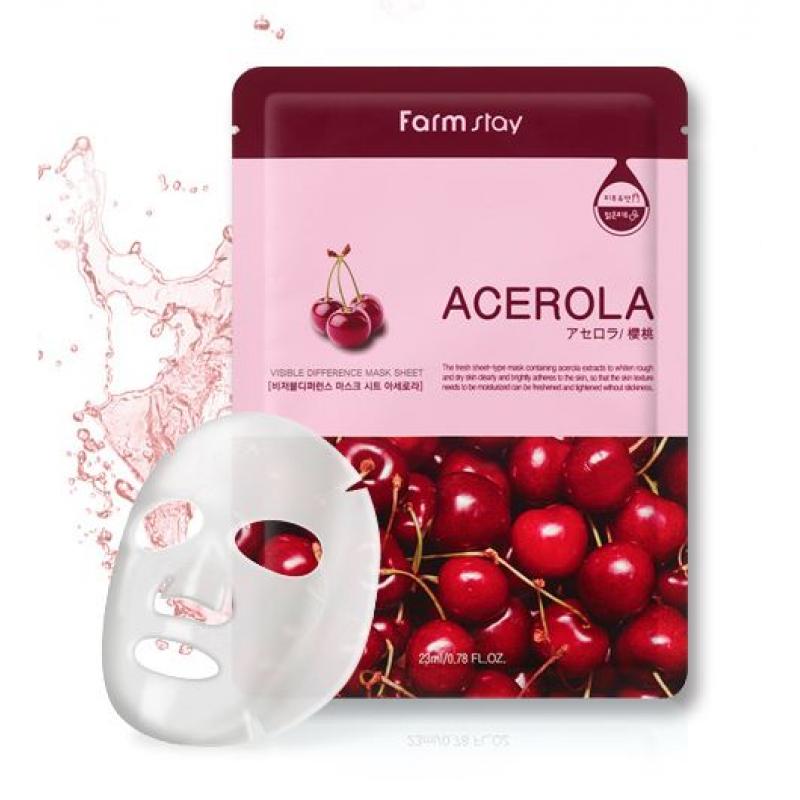 Маска для лица с экстрактом ацеролы Visible  Mask Sheet  - 23ml FarmStay