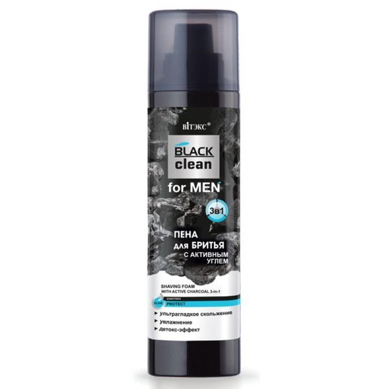 ПЕНА ДЛЯ БРИТЬЯ 3-В-1 С АКТИВНЫМ УГЛЕМ «BLACK CLEAN FOR MEN»