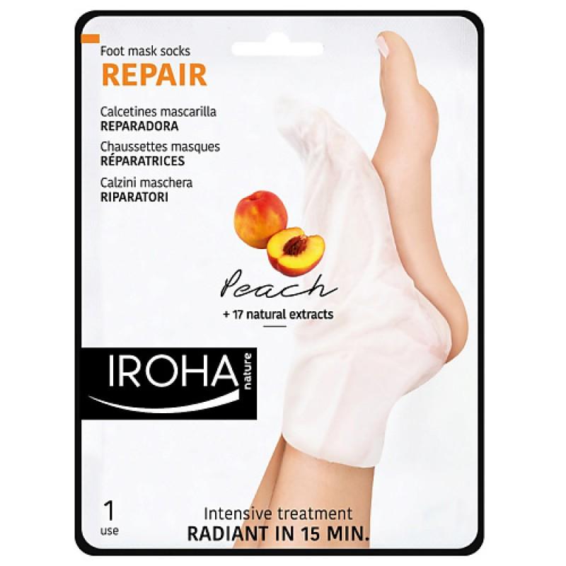 Возобновляющая маска-носки для ног с персиком  Iroha