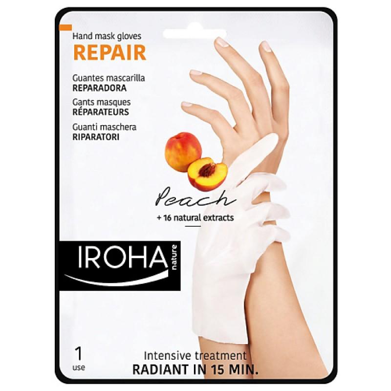 Восстанавливающая маска-перчатки для рук и ногтей с персиком  Iroha